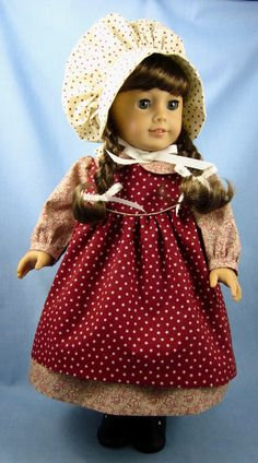 Five-Piece 1800s Ensemble for American Girl - Dress, Apron, Bonnet, Straw Hat, Bloomers in Rusty Cranberry