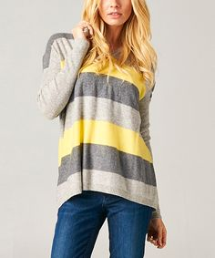 Loving this Elegant Apparel Heather Gray & Yellow Stripe Wool-Angora Blend Hooded Sweater on #zulily! #zulilyfinds