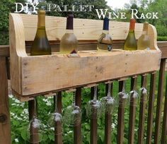 """DIY pallet wine rack - jess this would be cool for your """"get together's"""""""