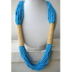 Carved Necklace/Filigree Necklace/Blue Beaded by FootSoles on Etsy, $30.50