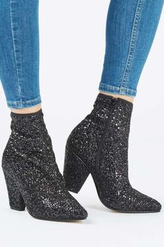 Sick of strappy sandals as your choice of party footwear? Enter the sequin boot, a casual heel with a touch of glamour to elevate any look. #Topshop