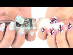 Diseños de uñas fáciles y rápidos.  Quickly and easy nail art.