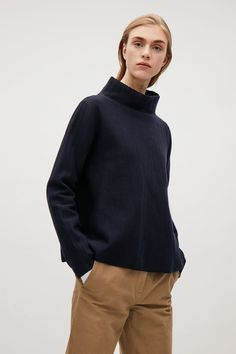 COS image 2 of Wavy stitch high-neck top in Navy