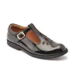 Black Patent T-bar Buckle Girls School Shoes