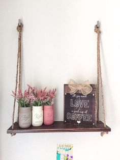 DIY Pretty Hanging Shelves - Home Decor ideas are pretty cheap when you DIY. I am glad that I could find these DIY Home Decor Ideas and pinning for future reference. Every girl should know these Home Decor DIY ideas. #homedecor, #diyhomedecor, #homedecorideaslivingroom #cheaphomedecor