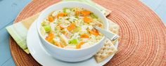 CALORIES PROTEIN CARBS FAT 250 15g 37g 4.5g  Similar to chicken noodle soup, but with a light lemon flavor.  Prep time: 5 minutes Cook time: 25 minutes  ... Read More
