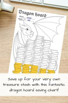 Dragon Hoard 100 cells | Etsy Savings Chart, How To Bullet Journal, Goal Charts, Financial Planner, Son Love, Dungeons And Dragons, The Hobbit, Frugal, The Help