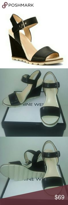 """Nine West Leather Wedge Sandals A chunky tread and  white lugged outsole gives an athleisure edge to these refined wedge sandals!  Heel: 3.5""""  Platform: 3/4"""". Cushioned footbed.  According to the manufacturer, the fit runs true to size. Nine West Shoes Sandals"""