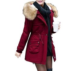 5daa6792923 New iFOMO Women Winter Warm Outerwear Hooded Drawstring Side-Zip Casual Quilted  Coat Solid Cotton