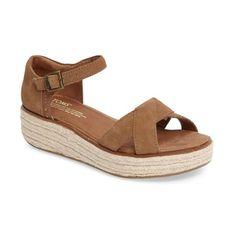 Women's Toms Harper Platform Sandal ($89) ❤ liked on Polyvore featuring shoes, sandals, medium brown, platform espadrilles, platform espadrille sandals, brown sandals, toms shoes and wedge espadrilles