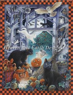 Mini Lesleys Cats At Halloween - Heaven And Earth Designs 13-2158  $12.00