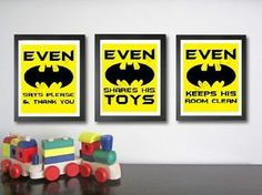 Batman Superhero Kids Children Nursery Play Room Decor Art Digital Prints Set | eBay