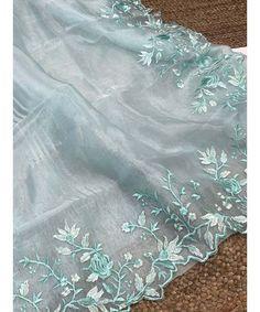 Unique Style Organza Silk Saree with embroidery work & Sattin Blouse -Style Array Silk Sarees, Indian Sarees, Sky Blue Saree, Red Saree, Saree Dress, Saree Blouse, Saree Wedding, Blouses For Women, Embroidery