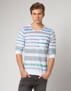 Dyed stripes sweater