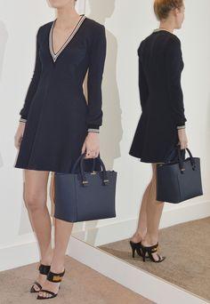 Victoria Victoria Beckham Deep V Rib Trim Dress | GarmentQuarter