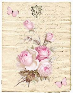 Decoupage Vintage, Vintage Diy, Vintage Crafts, Vintage Paper, Vintage Flowers, Vintage Floral, Vintage Pictures, Vintage Images, Deco Rose