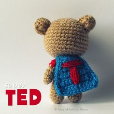Super TED, a 4-inch #amigurumi #superhero! Download this free pattern ✿⊱╮Teresa Restegui http://www.pinterest.com/teretegui/✿⊱╮