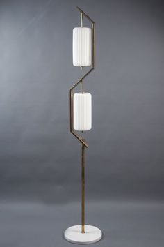 "Floor Lamp Angelo Lelii Italy, Arredoluce, Two white opaline glass shades suspended from a zig-zag structrue on a brass shaft and white marble base. Sometimes misspelled as ""Lelli"", the correct spelling is ""Lelii"" with two i's. Lamp, Lighting Design, Floor Lamp, Modern Floor Lamps, Mid Century Modern Floor Lamps, Modern Lamp, Floor Lamp Lighting, Lamp Light, Interior Lighting"