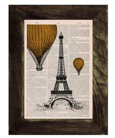 Vintage Book Print -  Eiffel Tower Yellow Balloons Ride Print on Vintage Book -France art