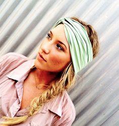 Mint Twist Turban Headband Fresh Green Stretchy Workout Fashion Turban Hair Band. via Etsy. LOVE THIS LOOK!