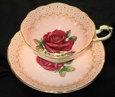 PARAGON SIGNED LARGE RED ROSE POLKA DOT BORDER TEA CUP AND SAUCER