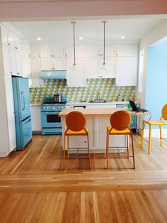 Full height cabinets Before & After: Tara's Bright, Breezy & Bold Kitchen — The Big Reveal Room Makeover Contest 2015