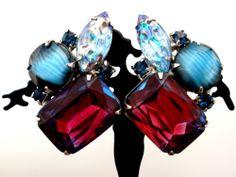 Vintage Purple Rhinestone Earrings Bi Color Blue Striped Lava Rock Silver Clip
