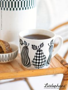 Our mugs are made of truly fine porcelain- They are light yet very durable an d nice to sip from as the edges of the mugs are soft and designed to taste delicate. Designed in Sweden by Camilla Lundsten for Littlephant. Image: Pear mug