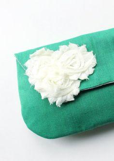 Wedding Clutch and Flower Brooch Emerald Green