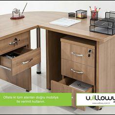 Ofiste ki tüm alanları doğru mobilya ile verimli kullanın.  www.willowy.com.tr  #willowy #ofis #mobilyası #bursa #inegöl #masa #verim #mobilya #furniture #desk #dekor #ofisdekor