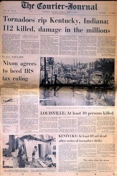 April 3, 1974 tornado in Louisville Ky. I was 13 y/o & in Winchester when 13 tornados hit out area and wiped out my cousin's house. They were finding papers from their house in surrounding counties much later