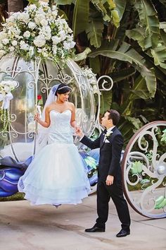 Bride and Groom Disney World Wedding, Disney Inspired Wedding, Cinderella Wedding, Princess Wedding, Cinderella Carriage, Disney Weddings, Chic Wedding, Perfect Wedding, Wedding Gowns