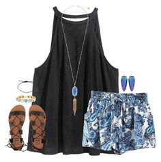 #spring #outfits / black gladiator sandals + tank top