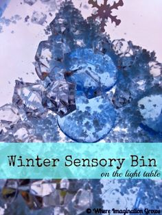 Winter sensory box on the light table from Where Imagination Grows