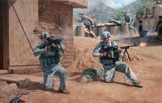 Warrior Ethos, Painting depicting the battle at COP Keating, commissioned by Command and General Staff College, Ft. Leavenworth KS. prints signed by Medal of Honor recipient Clint Romesha.