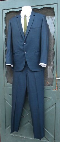 MINT CONDITION VINTAGE 1960's BLUE SHARKSKIN SUIT  *EXTRAORDINARY MAD MEN*