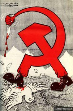 Оригинал взят у vorchun_luka в Антисоветские плакаты афганских моджахедов С 1979 по 1988 год продолжалась Афганская война, где с одной стороны сражались советские войска и…