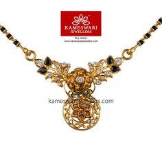 Buy Mangalsutra Online   CZ Floret Mangalsutra from Kameswari Jewellers Gold Mangalsutra Designs, Gold Jewellery Design, Gold Jewelry, Beaded Jewelry, Beaded Necklace, Unique Jewelry, Indian Jewelry, Wedding Jewelry, Fashion Jewelry
