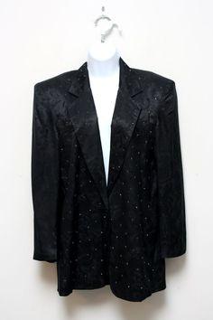 Adam Douglass Adrianna Papell Rare Black Silk Studded Textured Blazer Size 10…