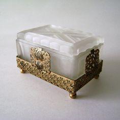 Vintage Brass Jewelry Box or Casket Brass jewelry Casket and Box