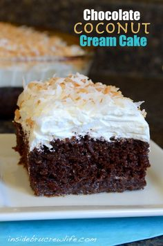 Chocolate Coconut Cake - chocolate cake topped with cream of coconut  milk and cool whip #coolwhip #chocolatecake  http://www.insidebrucrewlife.com