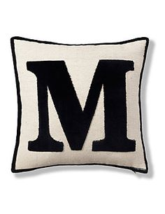 Love: Natural Letter M Cushion