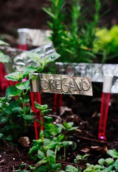 aluminum tape garden markers via dollar store crafts...a really good and inexpensive idea.