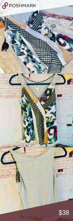 ANTHRO's Tiny Top, Size Small ANTHRO's Tiny Top, Size Small Splashes of color with some gold bling. EUC Anthropologie Tops Tank Tops