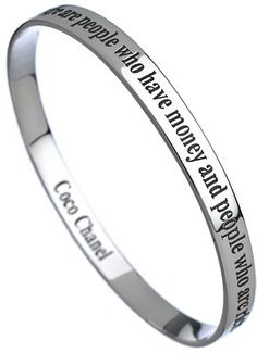 Chanel Charmed Circle Silver Quote Bangle