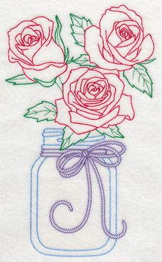 Blooming Roses in Mason Jar (Vintage) design (L9399) from www.Emblibrary.com