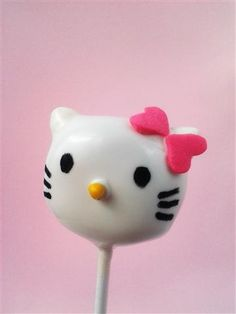 Hello Kitty Cake Pops with pink bow