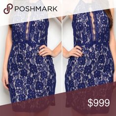 🌻S-L Navy lace dress Gorgeous dress to stun the crowd. Navy lace, keyhole open back, fully lined, so pretty. Note: Runs small... measurements on the LARGE are pictured. Size up highly recommended! No trades Dresses