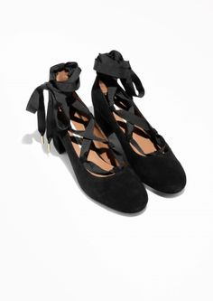 & Other Stories image 2 of Suede Lace Up Ballet Pump in Black
