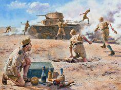 """Entrenamiento de la caza del tanque, división de """"Trento"""", 1942 """""""